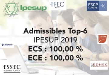 Excellents résultats d'admissibilité 2019 en Prépa HEC